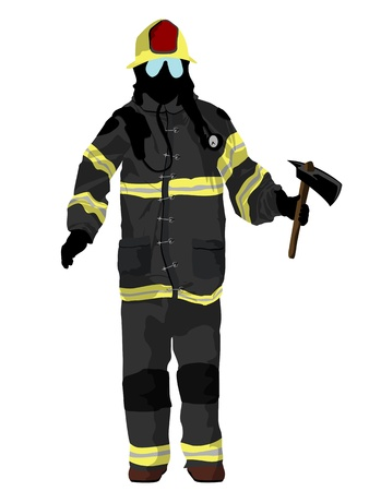 firefighter uniform: Fully equipped firefighter with axe, isolated and grouped objects over white background Illustration