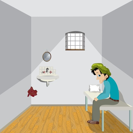 prisoner: Cartoon drawing of a sad man in a lonely room.