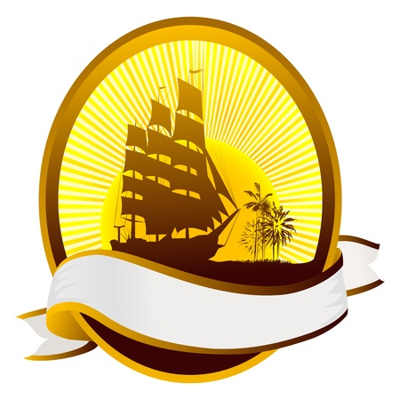 Summer tourism icon with ship silhouette, tropical island and banner for text. Vector