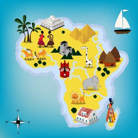 cartina africa: Disegno infantile del continente Africa Vettoriali