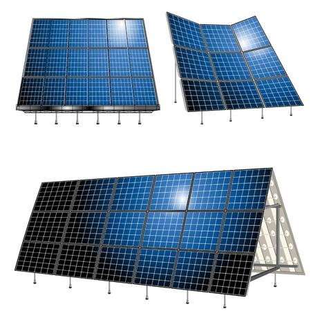 solar equipment: Alternativas de energ�a, paneles solares sobre fondo blanco