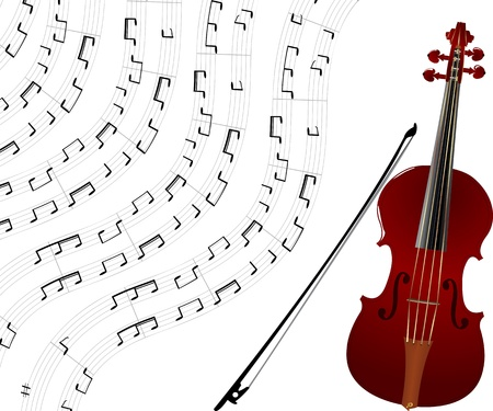 concerto: Red violin and musical notes background