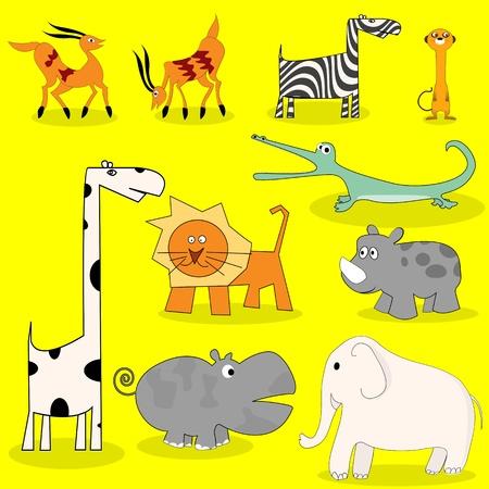 African wild animals cartoon set