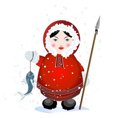 eskimo: Cartoon eskimo with spear and caught fish on white background