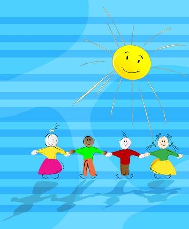 Cartoon children in the sun, abstract background illustration Stock Vector - 9861074