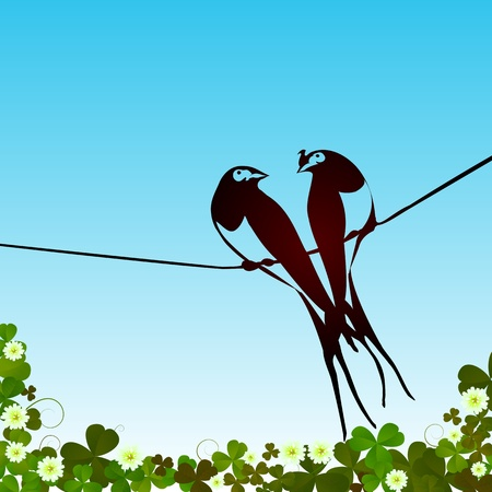 Swallows silhouettes background card with room for text Vector