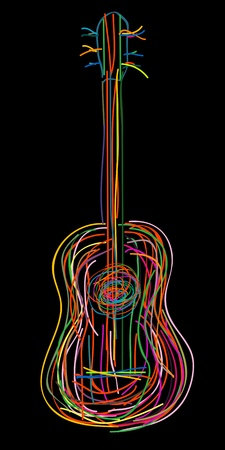fretboard: Acoustic guitar over black background