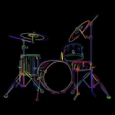 Gráfico de kit de tambor estilizada sobre negro