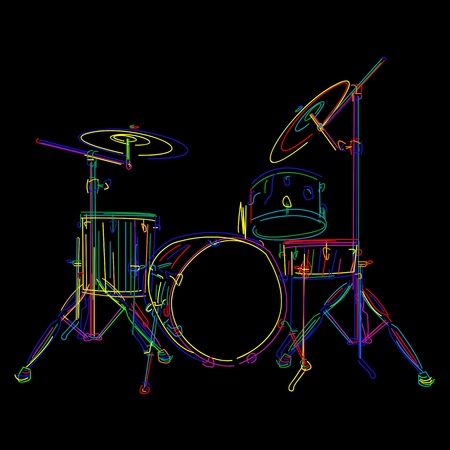 bass drum: Stylized drum kit graphic over black Illustration