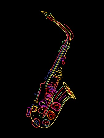 Illustration of a saxophone over black