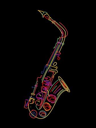 Illustrazione di un sassofono su nero