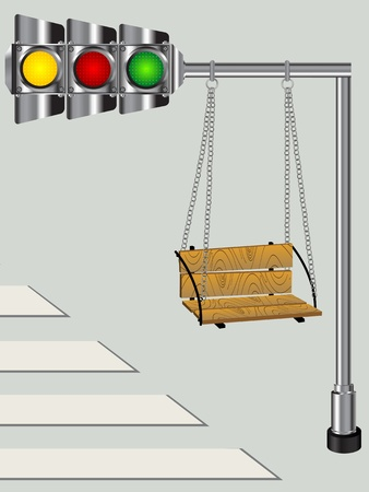 light play: Children swing on a bended traffic lights pole, conceptual graphic