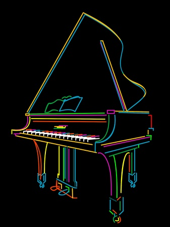 grand piano: Classical grand piano sketch over black