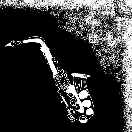 Abstract black background with saxophone jazz  Stock Vector - 9861109