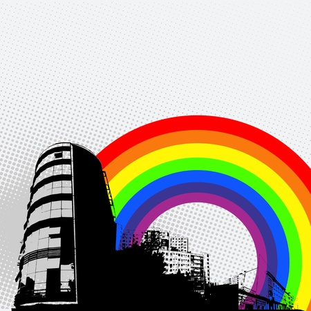 Grunge city panorama, abstract art Stock Vector - 9861111