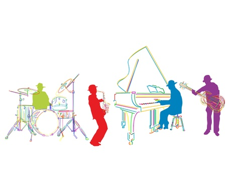 brass instrument: Jazz band sketch, isolated and grouped over white background
