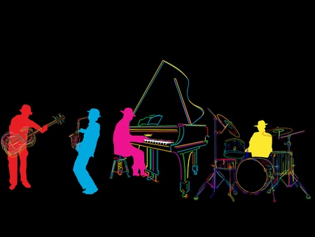 jazz band: Jazz band sketch, isolated and grouped over black