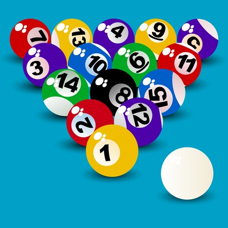 proper: Billiard Ball Set, proper perspective arranged objects