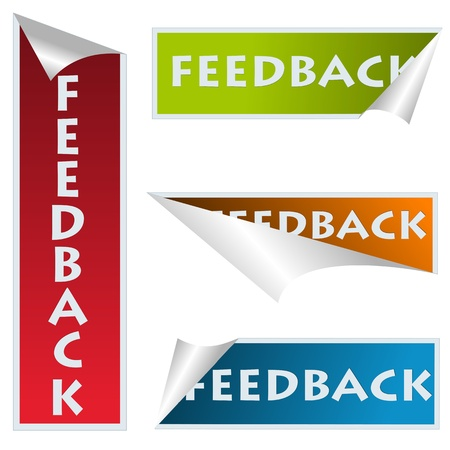 Curved corner feedback stickers over white Stock Vector - 9861114