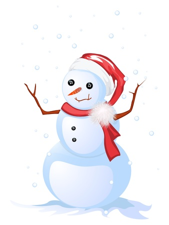 Image shows a smiling snow man, isolated and grouped objects over white