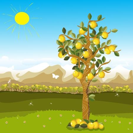 hormiga hoja: Ilustración animada de un árbol de limón sobre un fondo de otoño hermoso