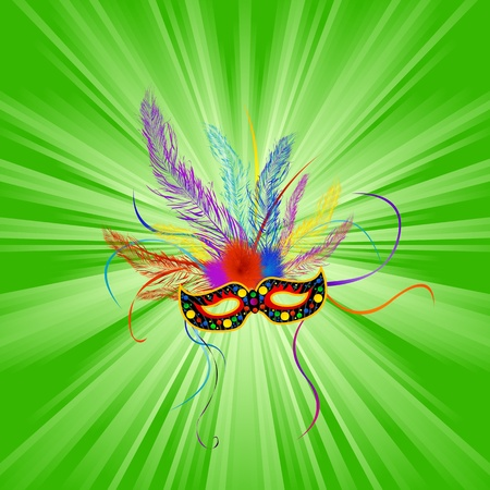 Festive Mardi Gras mask, abstract background