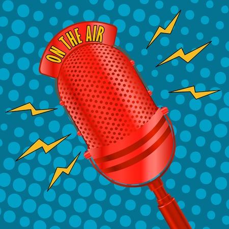 microfono de radio: Micrófono de radio pop art Vectores