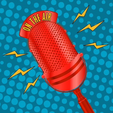 microfono radio: Micr�fono de radio pop art Vectores