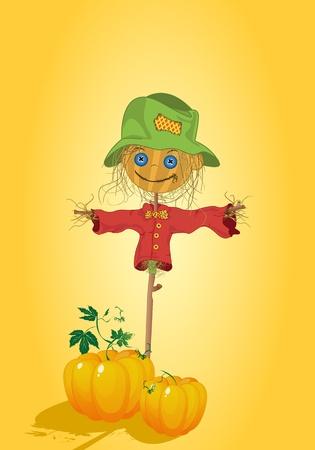 Scarecrow with pumpkins, Thanksgiving card Stock Vector - 9861127
