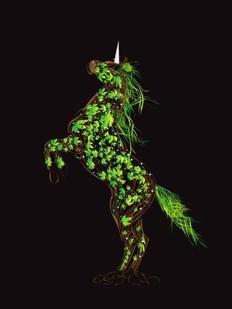 A magical forest unicorn, fantasy art illustration Stock Vector - 9884329