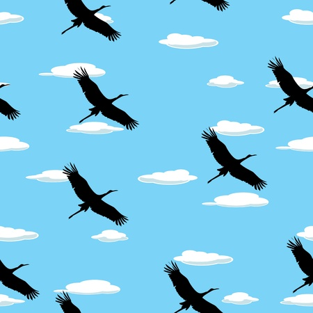 Seamless background with flying birds and clouds Vector