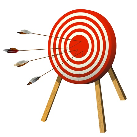 bull's eye: Arrows target with arrows, isolated objects over white Illustration