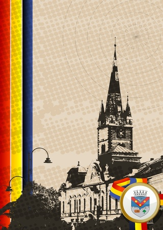 turda: Illustration of the reform church in Turda,Romania and the coat of arms of the city.