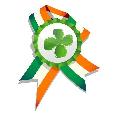 Beer cap with clover leaf and flag of Ireland. Decorative badge for Saint Patrick Vector