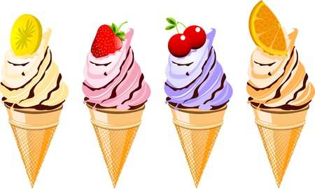 waffle ice cream: A set of four delicious fruit flavored ice cream cones Illustration