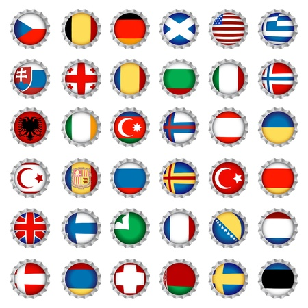 National country flags on beer bottle caps, isolated and grouped objects over white background. No gradient mesh or transparencies used. Stock Vector - 9920705