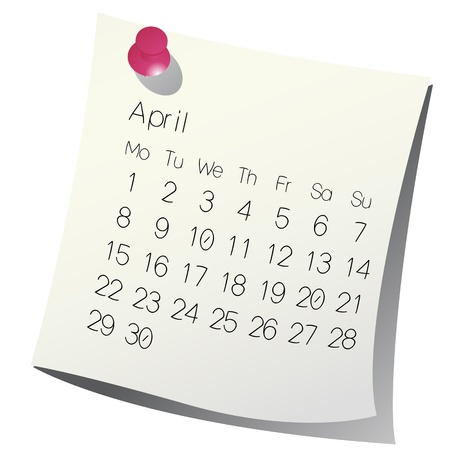 scheduler: 2013 April calendar on white paper Illustration