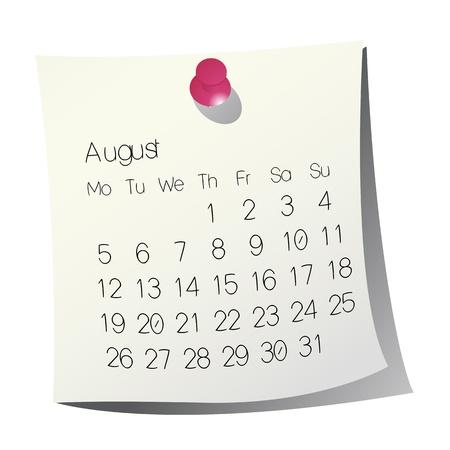 august calendar: 2013 Agosto de calendario en papel blanco Vectores