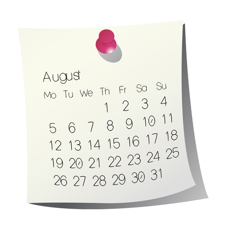 2013 August calendar on white paper Vector