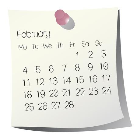 2013 February calendar on white paper Stock Vector - 9946423