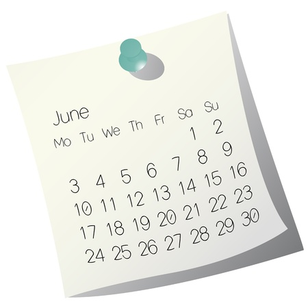 2013 June calendar on white paper Illustration