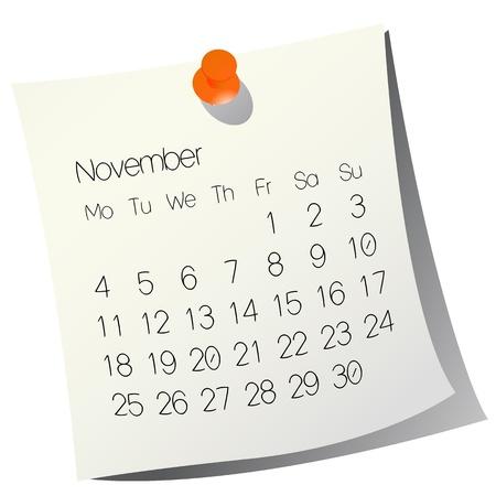 2013 November calendar on white paper Stock Vector - 9946471