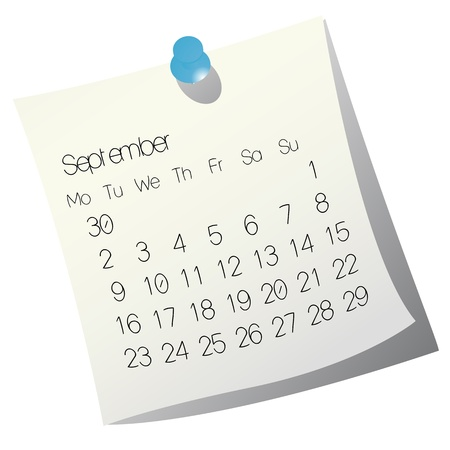 2013 September calendar on white paper