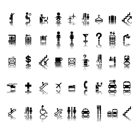 Airport pictogram set on stickers, isolated and grouped objects on white background Illustration