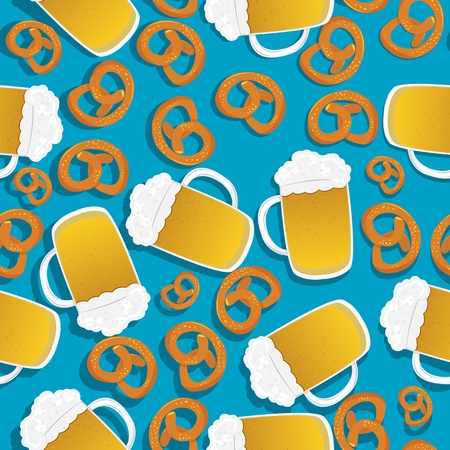 Seamless pattern with beer mugs and bavarian pretzels Vector