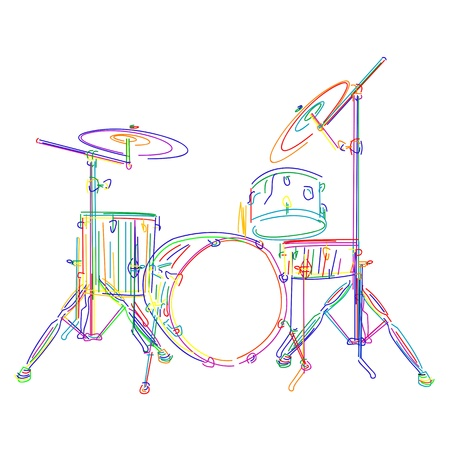 Graphic drums kit over white background Vector