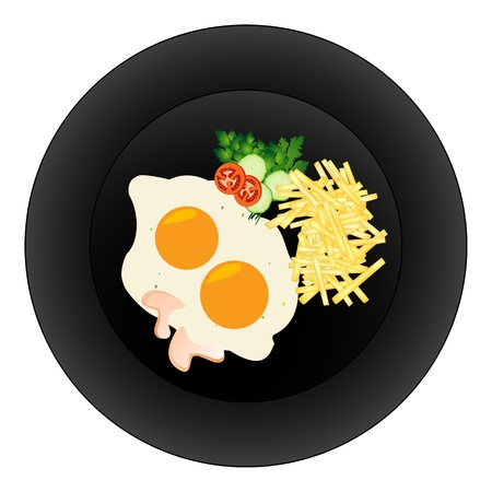 Fried eggs and fries on a plate. Stock Vector - 9946515