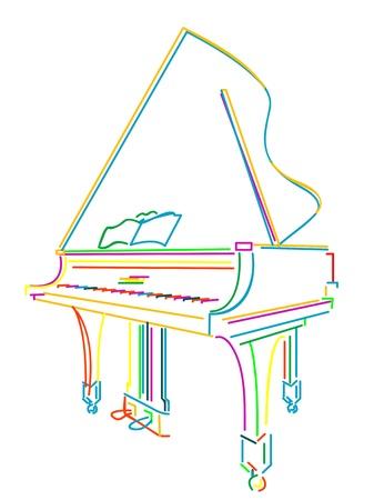 Croquis de piano de grand classique sur fond blanc
