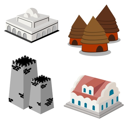monasteri: Construction isometric icon set on white  Vettoriali