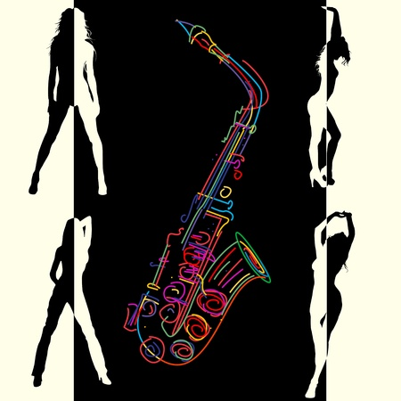 Abstract jazz club background with stylized saxophone and dancing girls